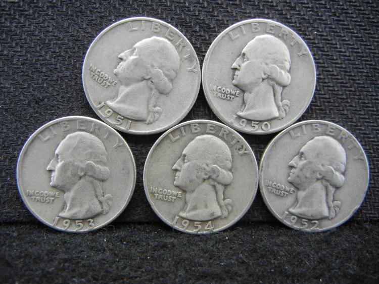 1950-D, 1951-D, 1952-D, 1953-D, & 1954-D Washington Quarters - 90% Silver