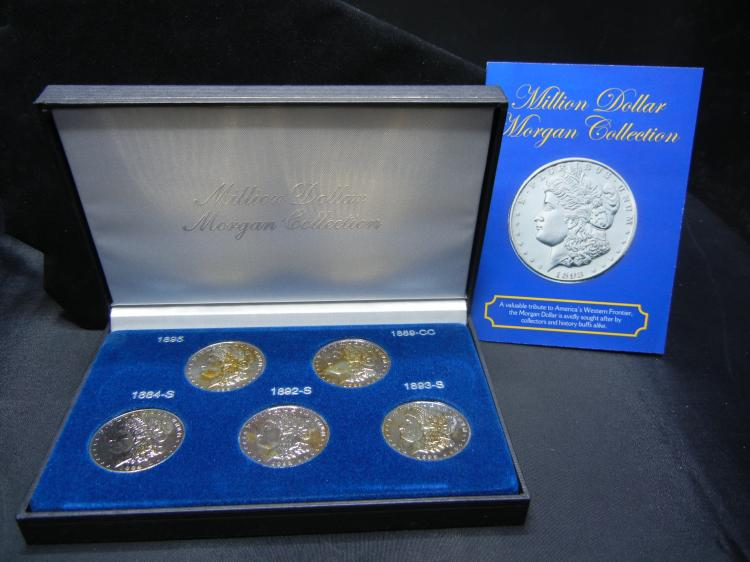Million Dollar Morgan Tribute Collection - 5 Replica Key Date Morgan Dollars - 1884-S, 1889-CC, 1892-S, 1893-S, & 1895