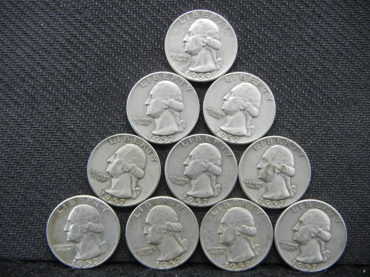 10 Mixed Date Silver Washington Quarters in Plastic Tube