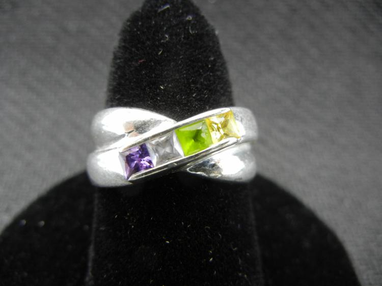 Sterling Silver Ring w/Colorful Gems Size 7