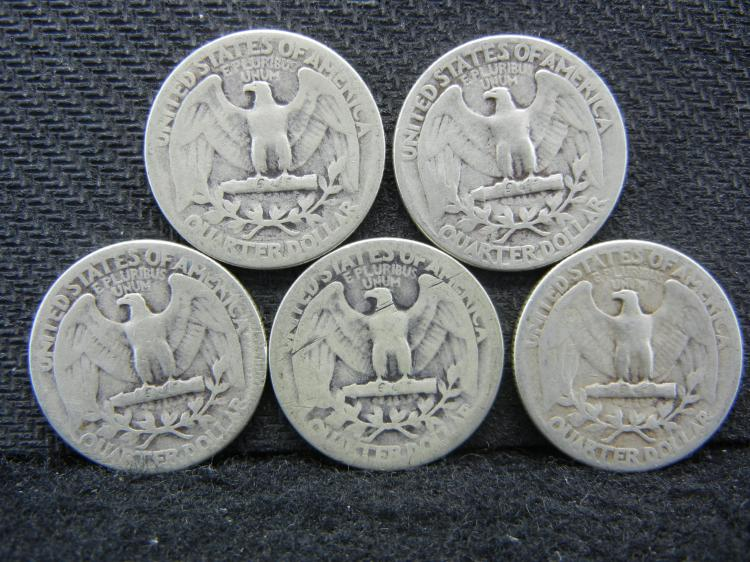 1939, 1940, 1941, 1942, & 1943 Washington Quarters - 90% Silver