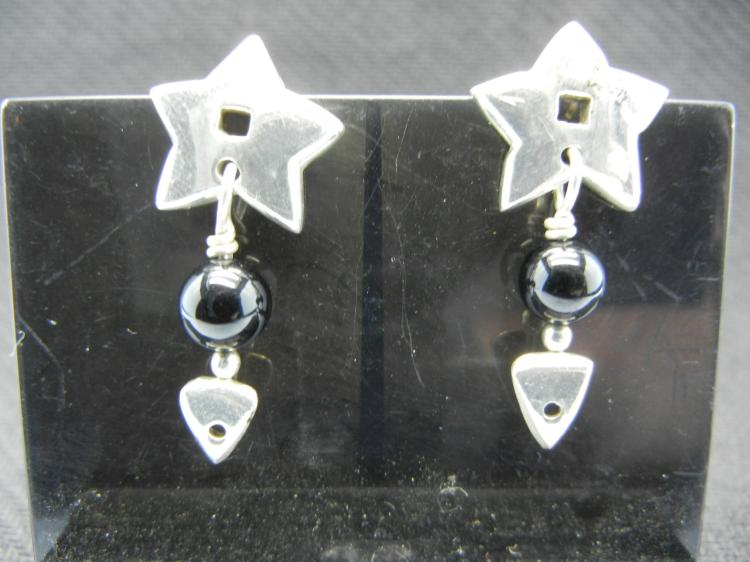 Sterling Silver Earring w/Black Accents