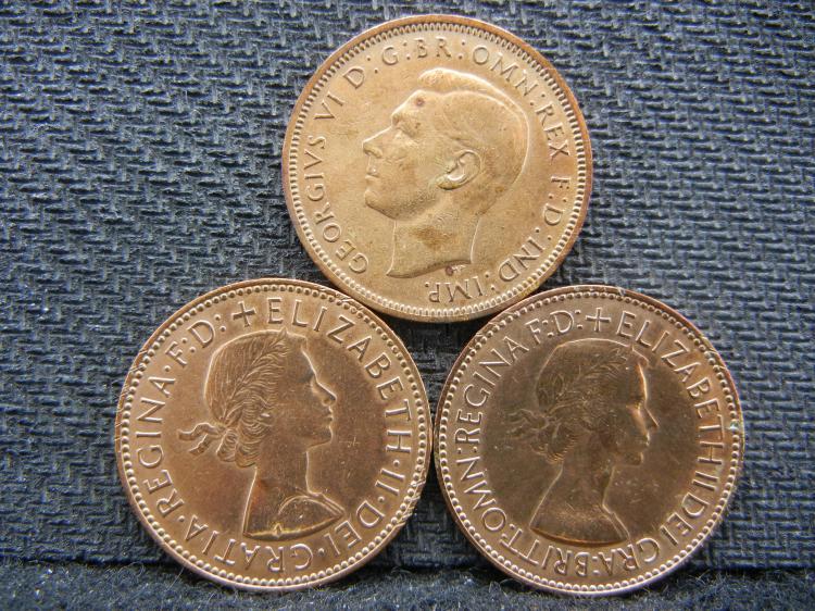 1946, 1953, & 1967 British Half Pennies