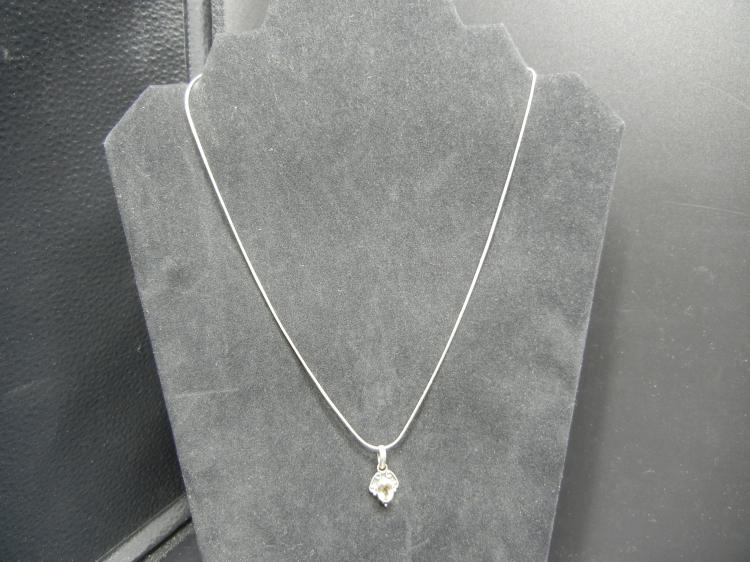 Sterling Silver Necklace w/Pendant & Clear Stone