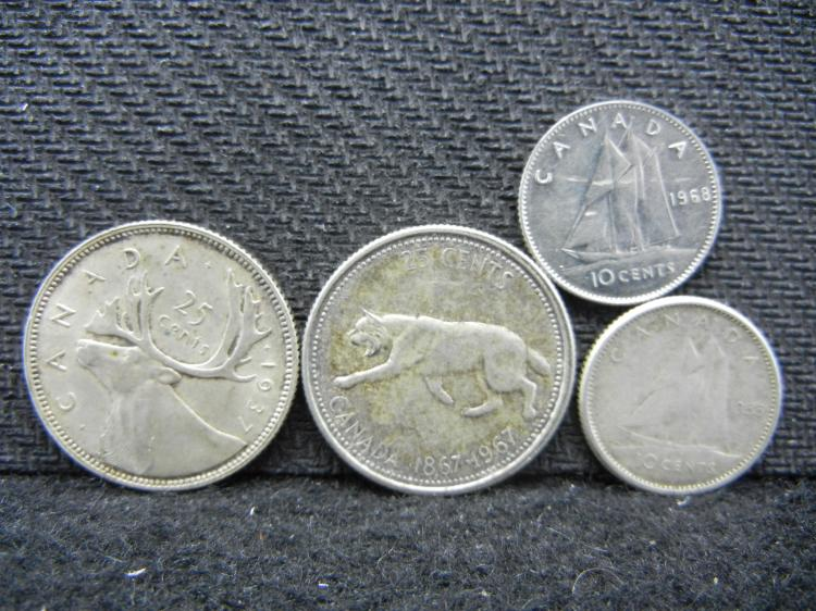 1937 & 1967 Canadian Quarter & 1955 Canadian Dime - 80% Silver & 1968 Canadian Dime - 50% Silver