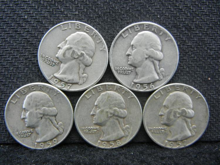 1956-D, 1957-P & D, 1958-D, & 1959-D Washington Quarters - 90% Silver