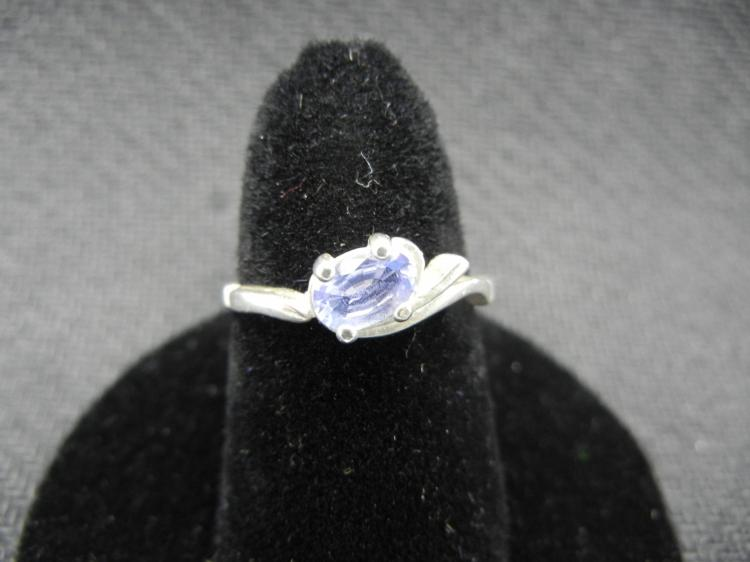 Sterling Silver Ring Amethyst Gem Size 6.5