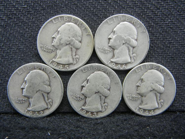 1942, 1943, 1944, 1945, & 1946 Washington Quarters - 90% Silver