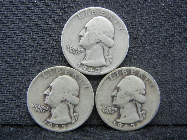 1943-P, D, & S Washington Quarters - 90% Silver