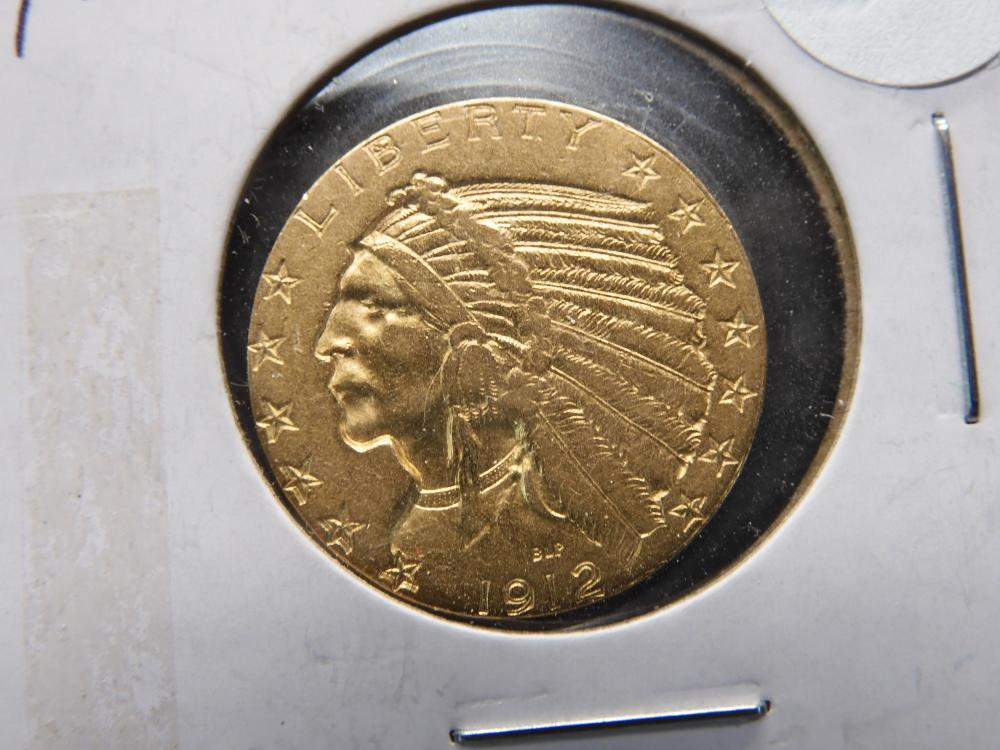 1912 US Gold Indian Head $5 Half Eagle