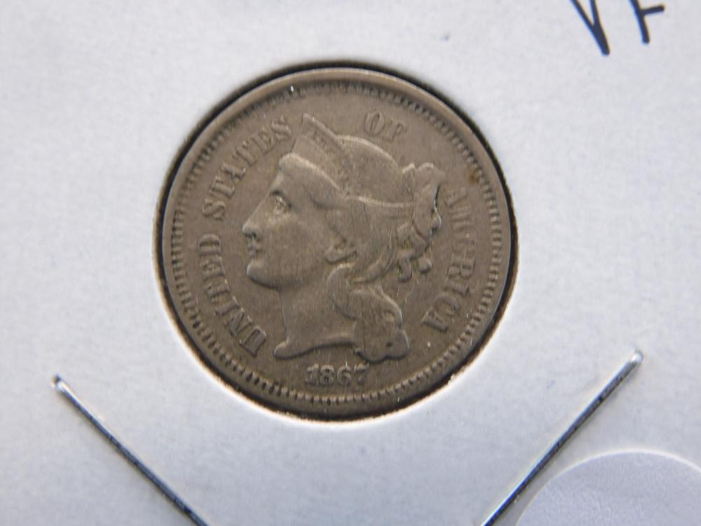 1867 3 Cent Nickel - Nice Details