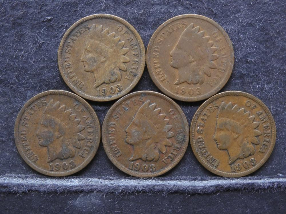 (5) INDIAN HEAD CENTS