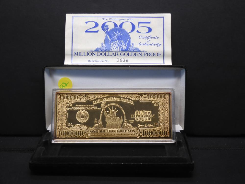 2005 Million Dollar 4oz .999 Silver Golden Proof Layered in Pure 24K Gold