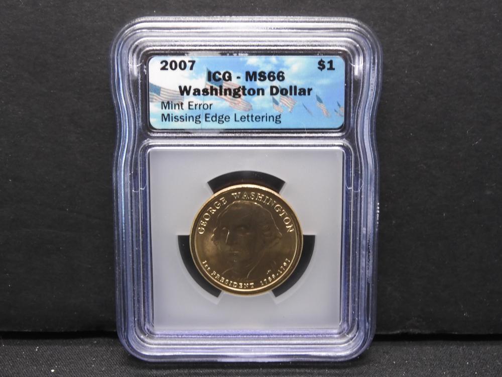 2007 Washington Dollar ICG MS66 Mint Error Missing Edge Lettering