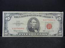 Lot 8K: 1963 $5 Red Seal United States Note. Serial # A22776599A