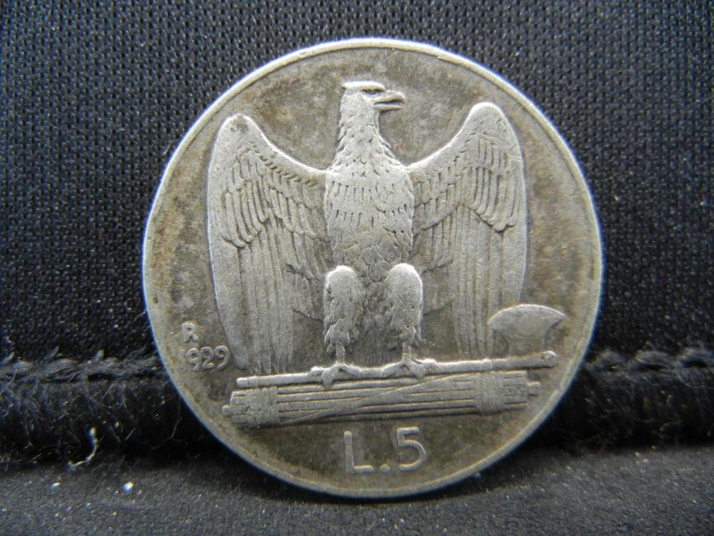 Lot 4K: 1929-R Italy 5 Lira 83.5% Silver Coin, Weighs 0.16 Troy Ounce.