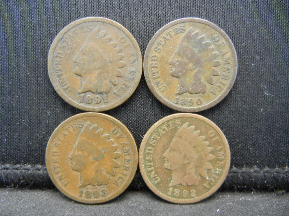1890 1891 1892 1893 Indian Head Cents.
