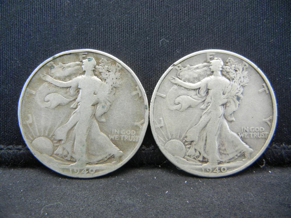 1940 PS Walking Liberty Half Dollars.