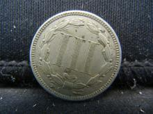 Lot 12K: 1873 Three Cent Nickel, Very Fine+ Condition.