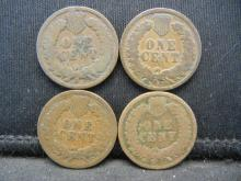 Lot 11K: 1890 1891 1892 1893 Indian Head Cents.