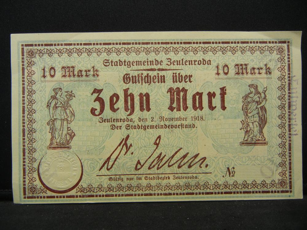 1918 Germany 10 Marks Bank Note.  Nice Crisp Note.