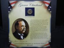 Lot 22K: Grover Cleveland Historical Presentation Coin and Stamp Set Issued by the Postal Commemorative Society.