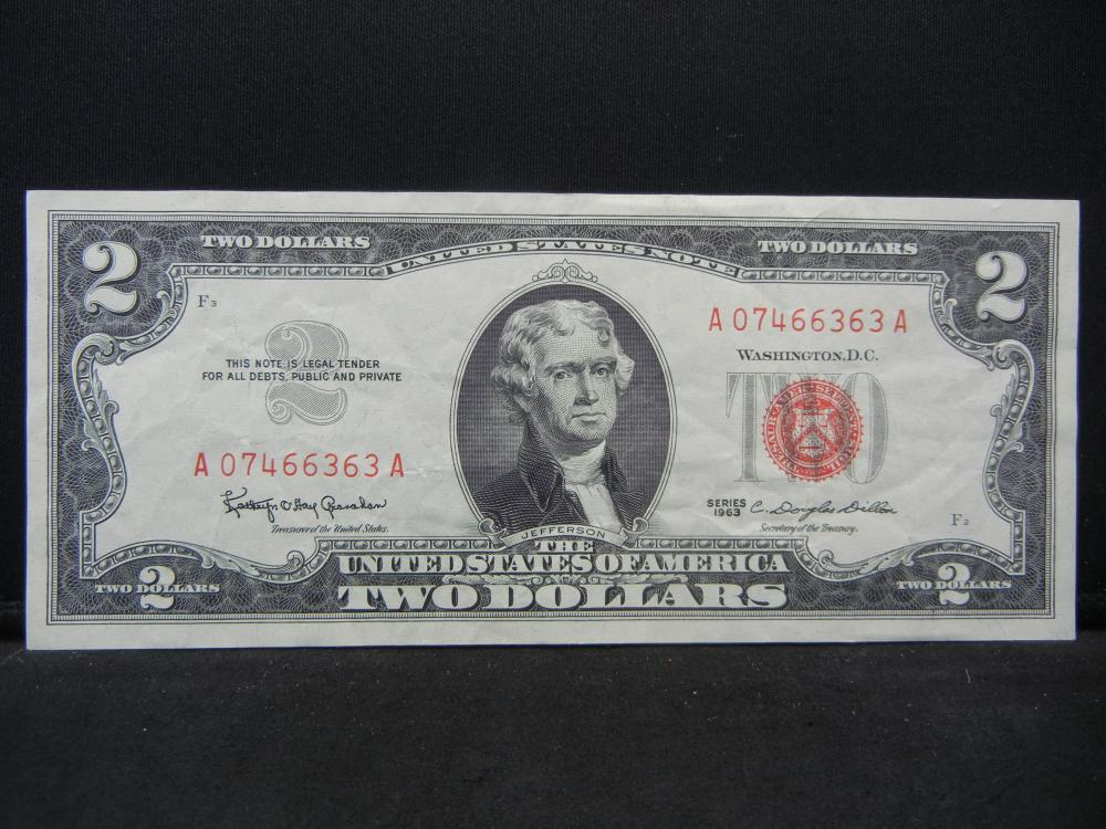 1963 $2 Red Seal United States Note.  Serial # A07466363A.  Nice Crisp Uncirculated.