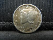 Lot 23K: 1923 Mercury Head Dime Almost Uncirculated Condition.