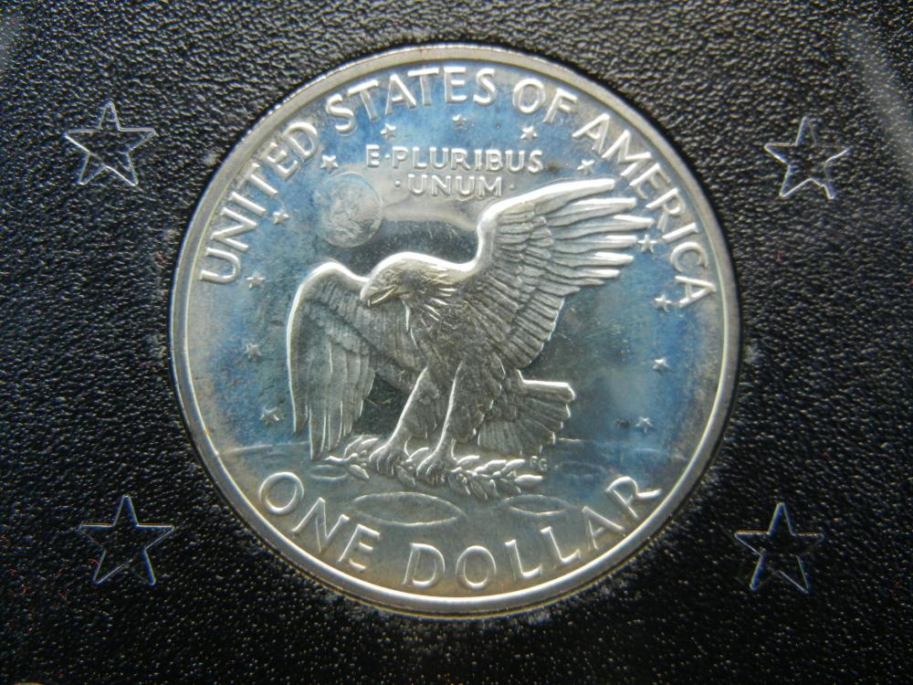 Lot 25K: 1971-S Eisenhower 40% Silver Proof Silver Dollar With Original Brown Box Packaging.