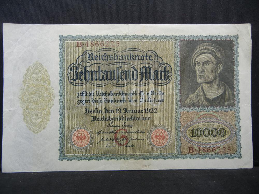 1922 Germany Weimarer Republik 10,000 Mark Reichsanknote, Serial # B 4866225