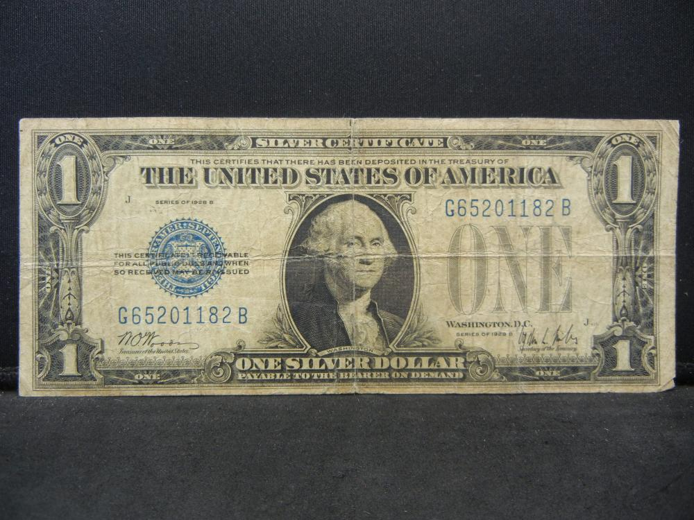 "1928-B $1 ""Funny Back"" Silver Certificate.  Serial #  G65201182B"
