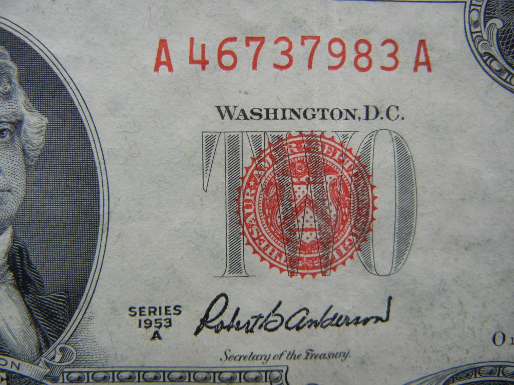 Lot 28K: 1953-A $2 Red Seal United States Note, Serial # A46737983A. Nice Crisp Note.