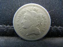 Lot 33K: 1865 Three Cent Nickel, Fine+ Condition.