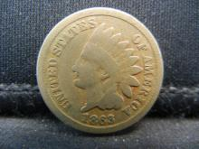 Lot 34K: 1863 Copper Nickel Indian Head Cent. Civil War Year.