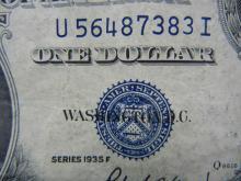 Lot 45K: 1935-F $1 Blue Seal Crisp Silver Certificate. Serial # U56487383I