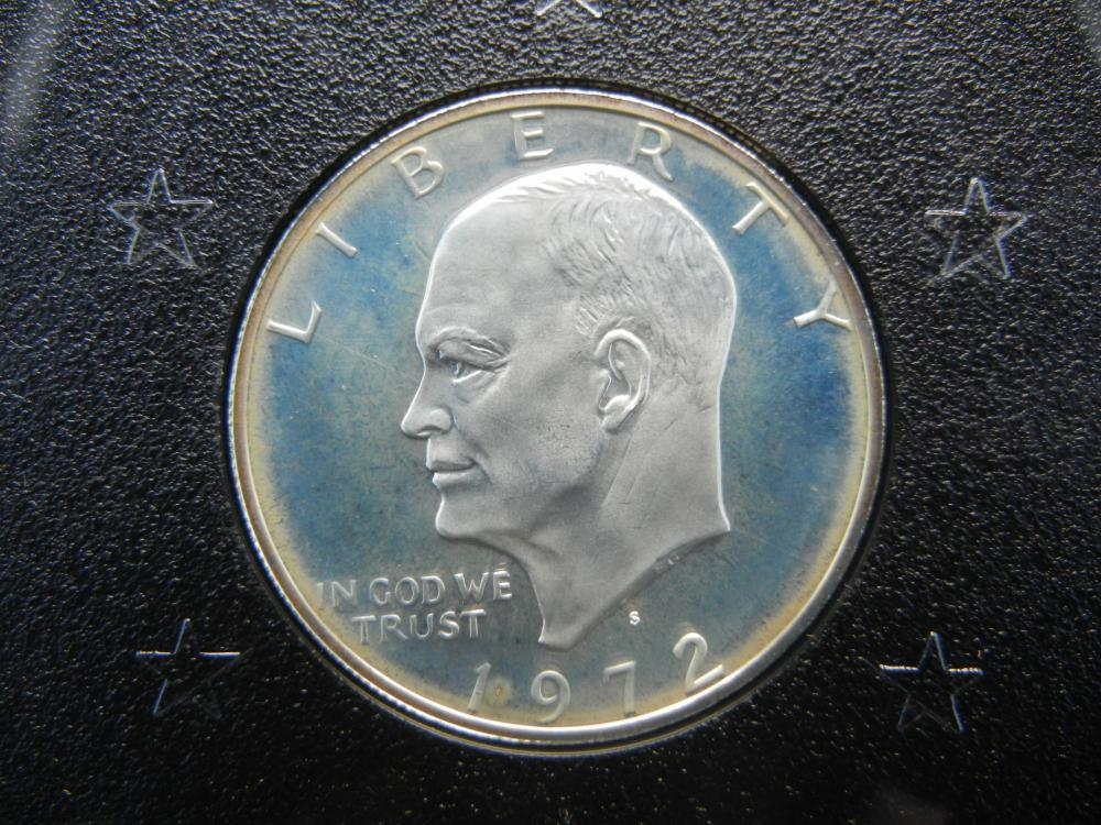 Lot 46K: 1972-S Eisenhower 40% Silver Proof Silver Dollar With Original Brown Box Packaging.