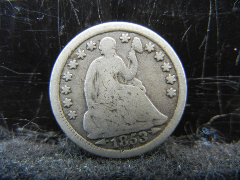 Lot 47K: 1853 Seated Liberty Half Dime.