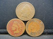 Lot 5N: 1891 1892 1893 Indian Head Cents.