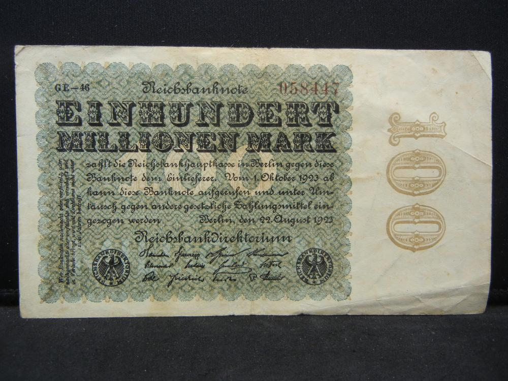 1923 Germany 100 Million Marks Reichbanknote.  Serial # 058447