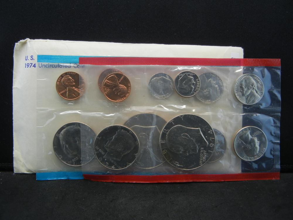 1974 13 Coin Mint Issued By The United States Mint With Original Packaging.
