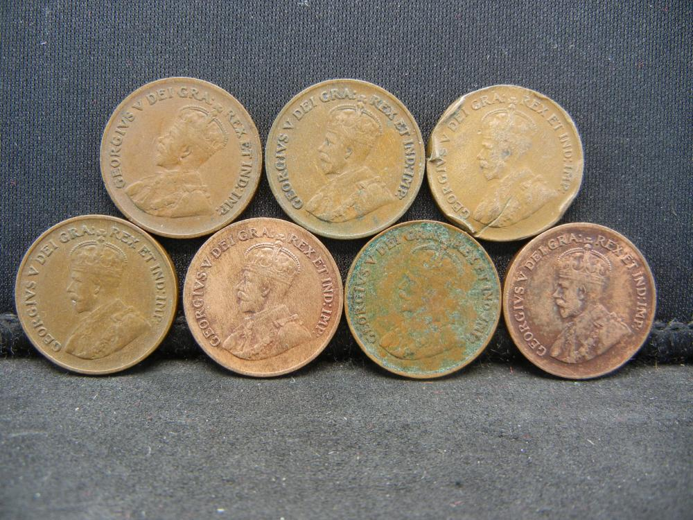 Lot 7N: 7 Canada George V Cents Dated 1920 1928 1929 1931 32 33 34.