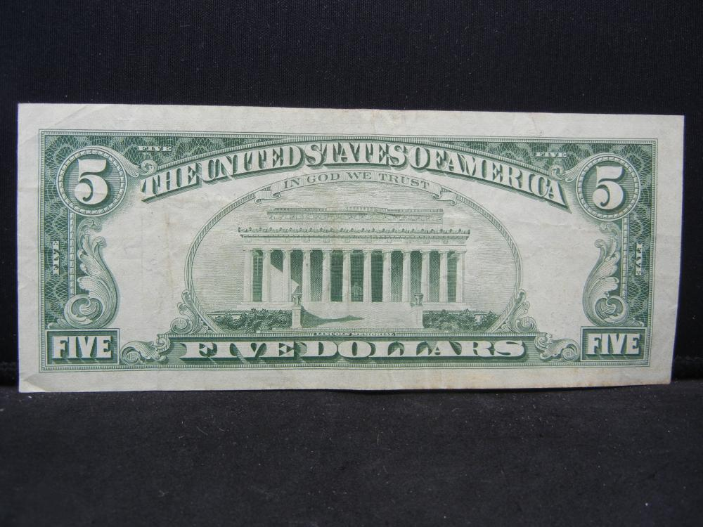 Lot 8N: 1963 $5 Red Seal United States Note. Serial # A49619212A