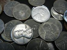 """Lot 10N: 50-1943 Steel Cents, """"Wartime Emergency Issues""""."""