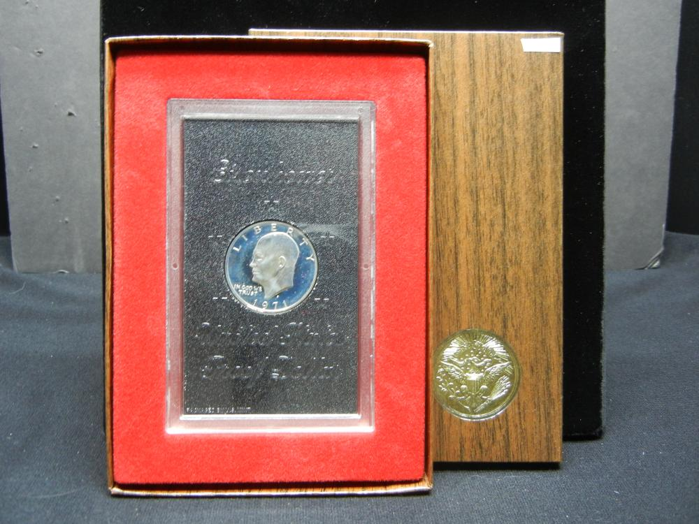 1971-S Eisenhower 40% Silver Proof Silver Dollar With Original Brown Box Packaging.