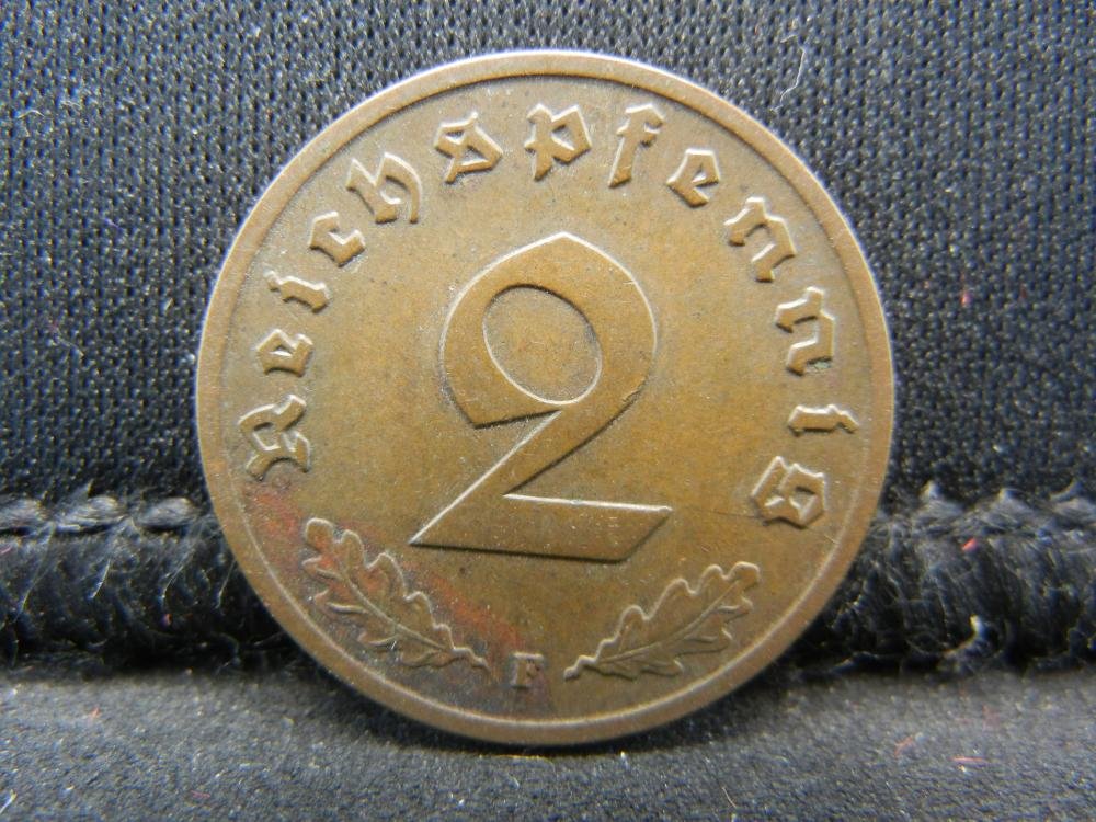 1937-F German Deutsch Reich 2 Pfennig