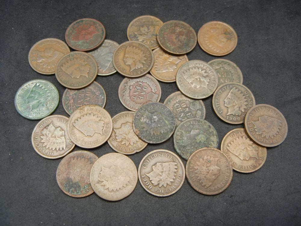 Group of 17 Indian Head Cents, Various Dates.