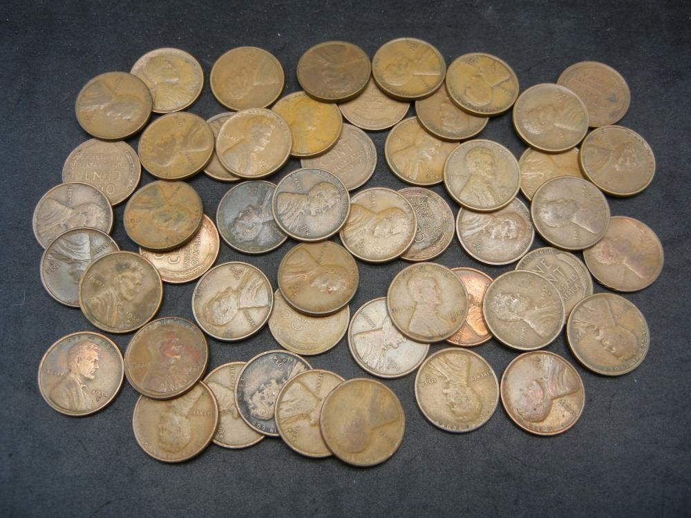 50 1955 Lincoln Wheat Cents.
