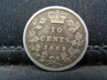 Lot 11N: 1882-H Canada Sterling Silver Ten Cents