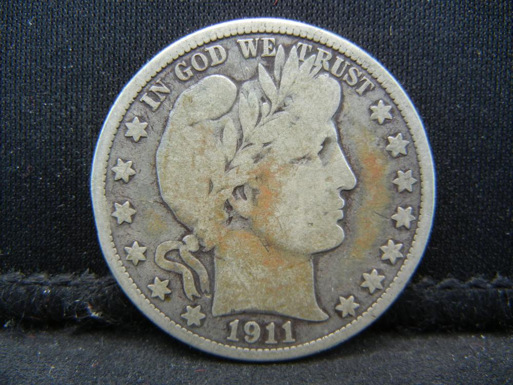 Lot 11B: 1911 Barber Half Dollar