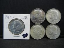 Lot 9B: 1965, 196, 1967, 1968-D, 1969-D Kennedy Half Dollars. 40% Silver